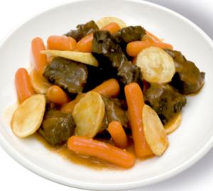 Estofat de vedella Saborós guisat de vedella ideal com a plat principal, acompanyat de patates i pastanagues.