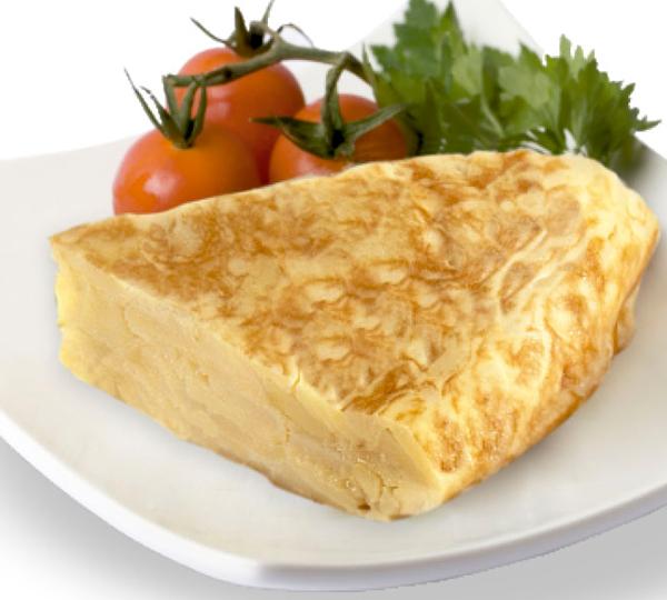 Truita de patates amb ceba-Patates fregides amb ceba, barrejades amb ou i cuites conjuntament.