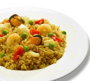 Paella de marisc - 6 min <b>especial microones</b> Preparat d'arròs cuit amb salsa sofregit, marisc i verdura.